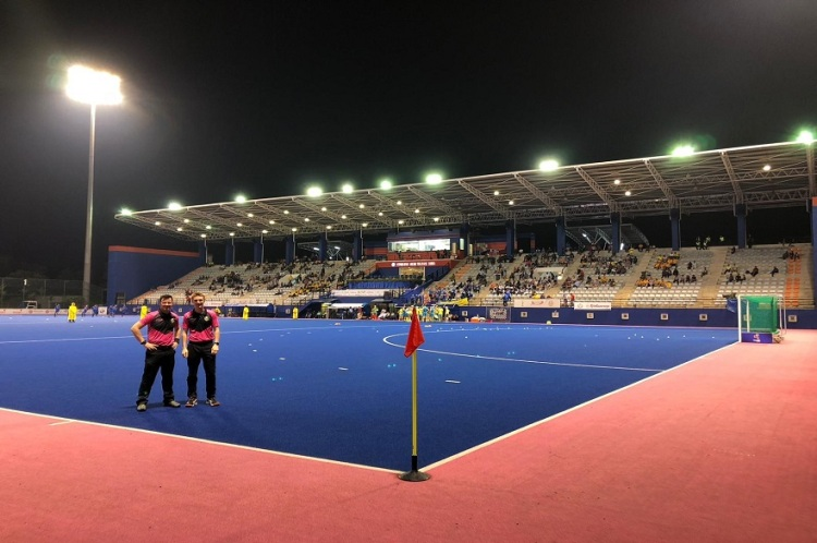 NTU Student and Hockey umpire Harry Collinson Pitch side
